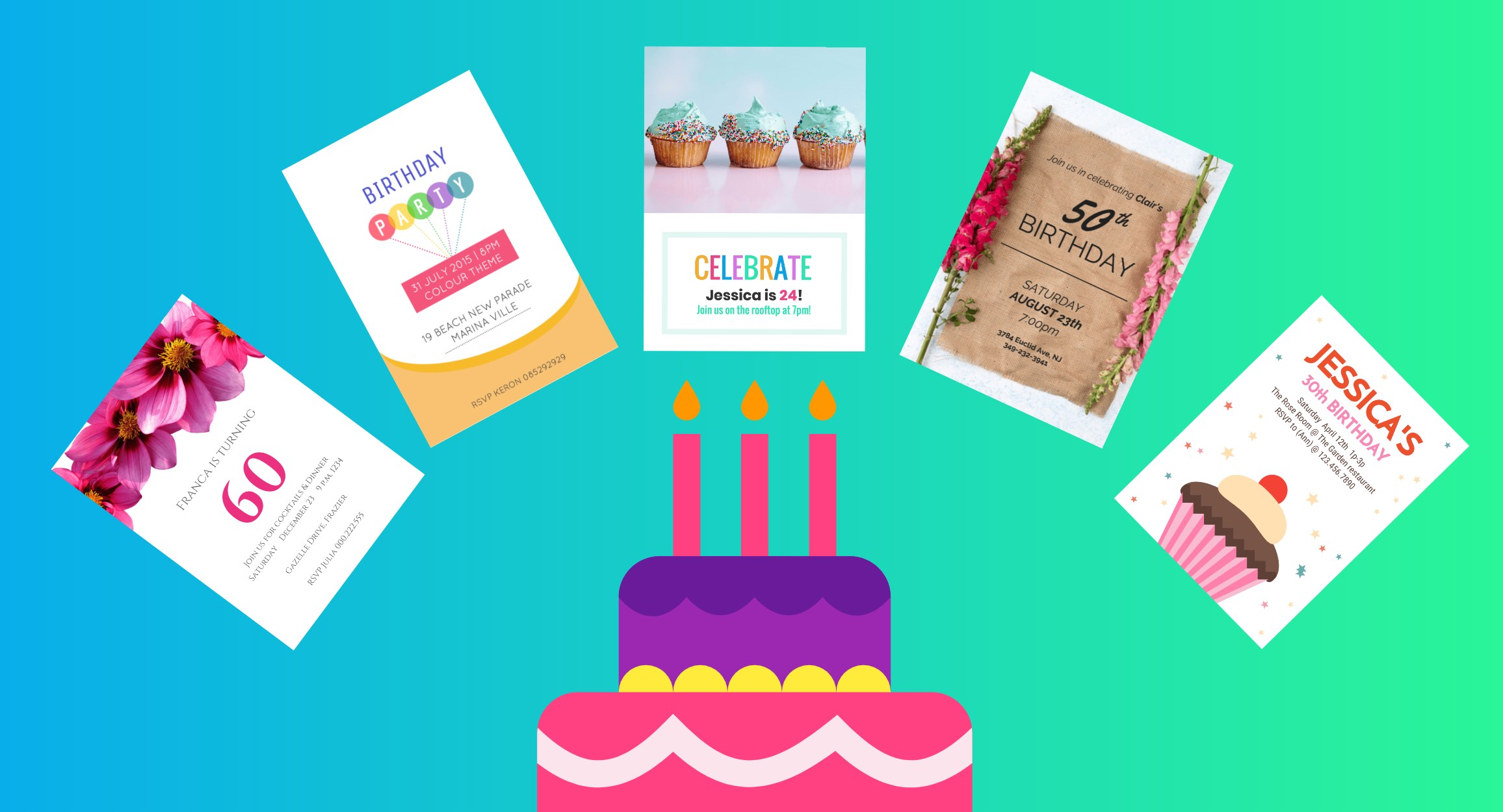 carte invitation anniversaire header
